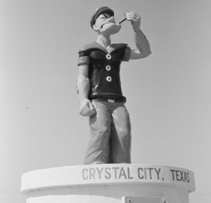 opeye statue in crystal city, texas